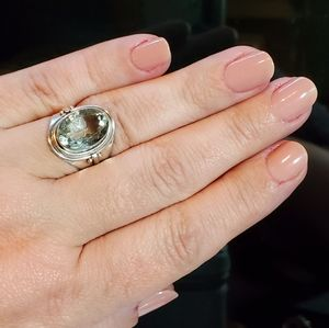 Sterling silver green Amethyst ring size 8.5
